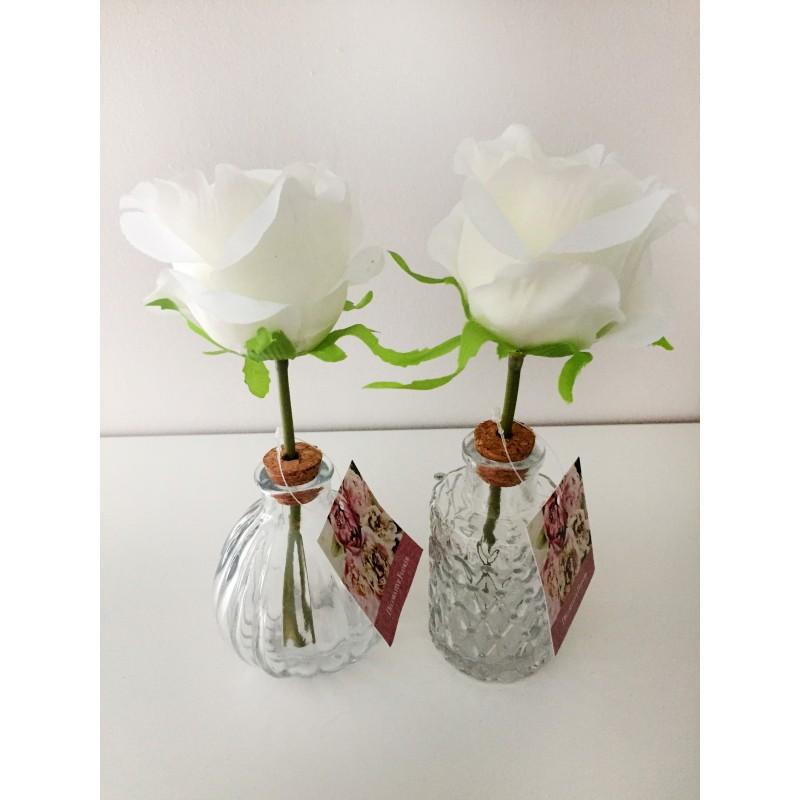Satin Rose Glass Vase Set Of 2 A Pink Or White Beautiful Satin Rose