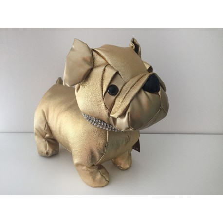 Black Pug Doorstop with a diamante bling collar
