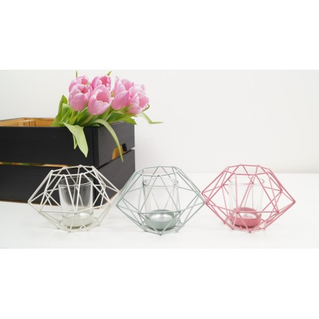 Geometric tea light candle holder 10cm