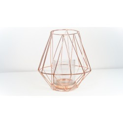 Tall geometric copper candle holder 19 cm