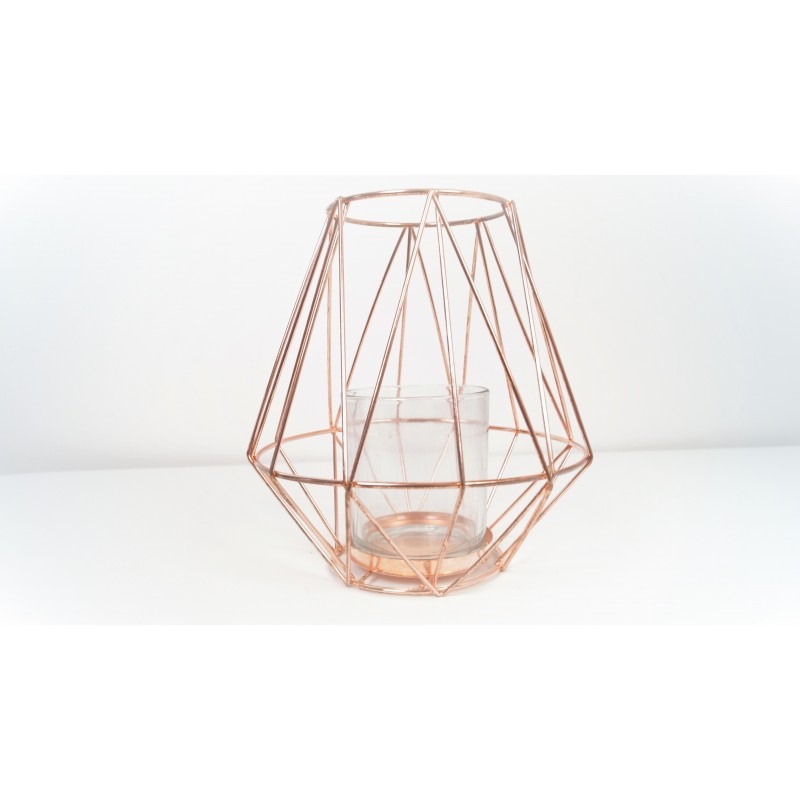 Tall Geometric Copper Candle Holder 19cm Copper Metal Tall