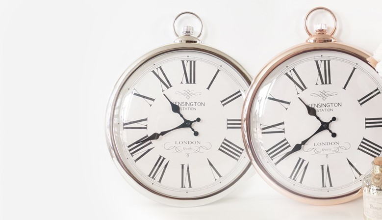 Large Silver / Copper pocket style Wall Clock